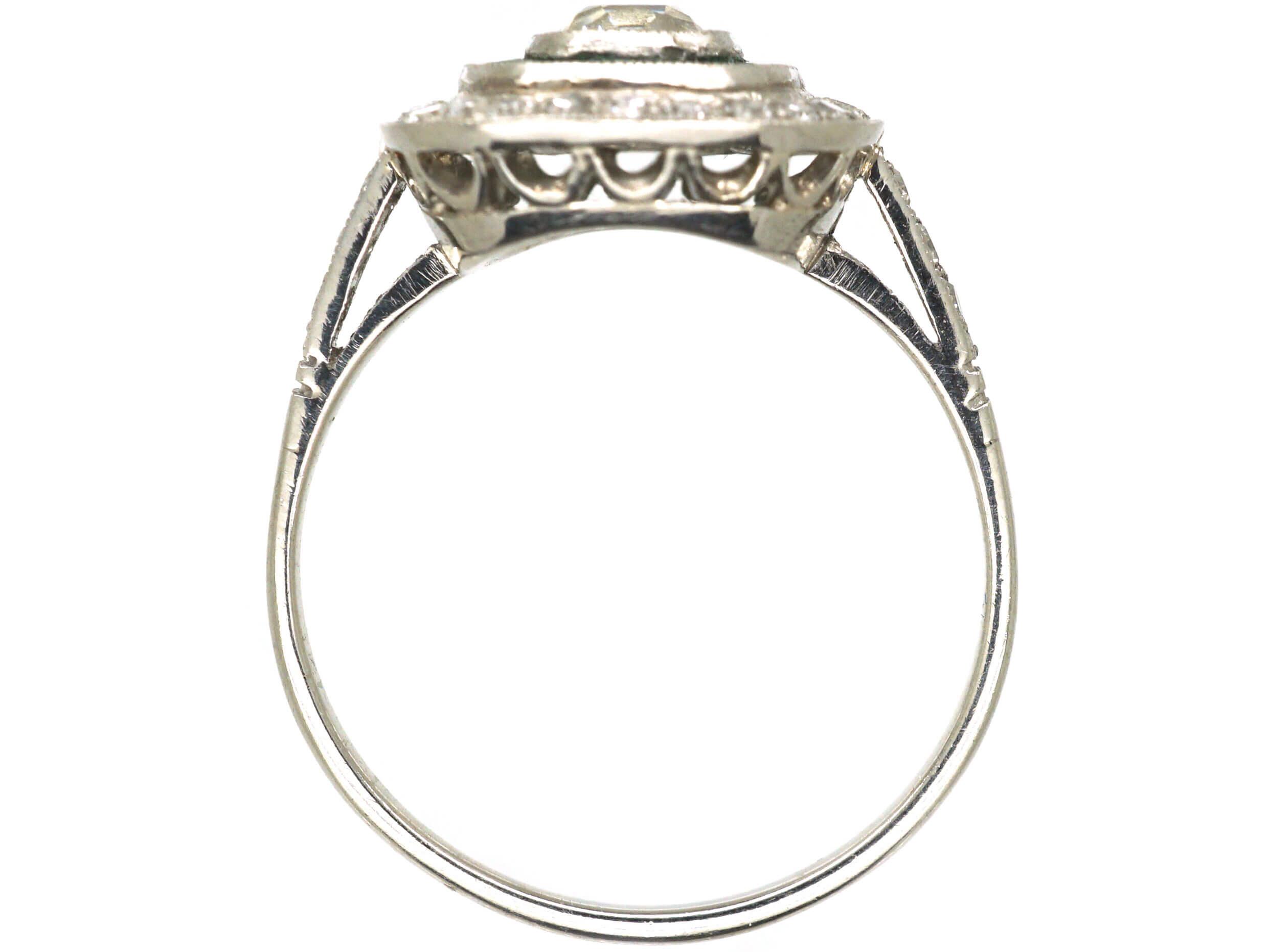 Art Deco Platinum, Emerald & Diamond Target Ring