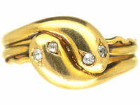 Victorian 18ct Gold Entwined Double Snake Ring with Diamond Set Eyes