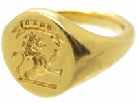 18ct Gold Signet Ring of a Lion Rampant