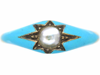 Early Victorian 15ct Gold, Blue Enamel & Natural Split Pearl Ring