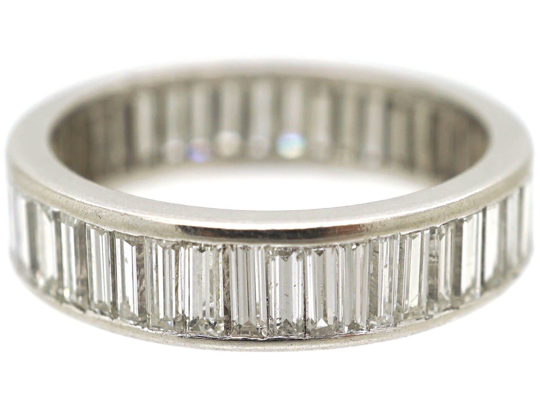 18ct White Gold Wide Baguette Diamond Eternity Ring