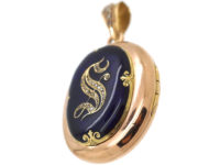 French 18ct Gold, Blue Enamel & Rose Diamond Oval Locket with the Letter S