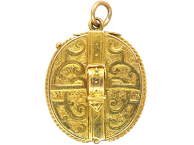 Victorian 15ct Gold Locket with Buckle Motif