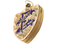 Victorian Forget Me Not Shield Shaped Locket
