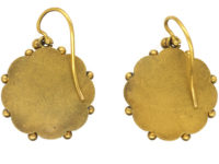 Victorian 15ct Gold Round Earrings set with Natural Split Pearls