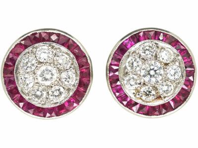 Art Deco Platinum Target Earrings set with French Cut Rubies & Diamonds