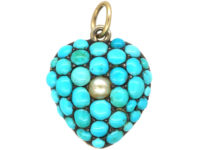 Victorian 9ct Gold, Turquoise & Natural Split Pearl Heart Forget Me Not Pendant