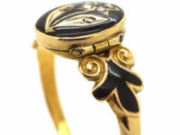 Early Victorian 15ct Gold, Black Enamel & Rose Diamond Pansy Ring with Hidden Compartment