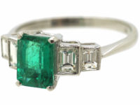 Platinum, Emerald & Diamond Five Stone Ring
