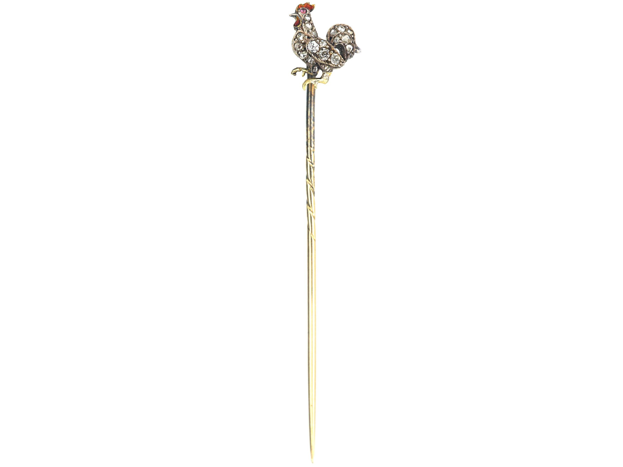 Edwardian 15ct Gold & Silver Enamel & Rose Diamond Cockerel Tie Pin