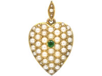 Edwardian 15ct Gold Heart Pendant Pave Set With Natural Split Pearls & a Green Garnet