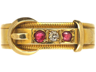 Victorian 18ct Gold, Ruby & Diamond Buckle Ring
