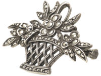 French Art Deco Silver & Marcasite Basket of Flowers Brooch