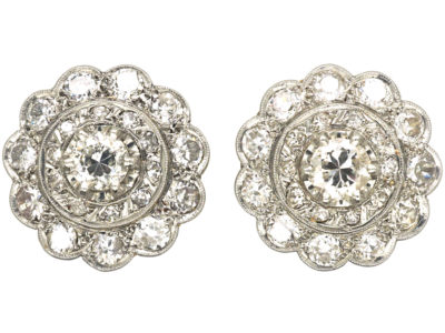 Edwardian 15ct Gold & Platinum Large Diamond Cluster Earrings