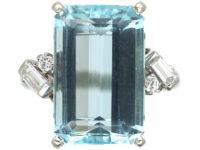 Platinum, Rectangular Aquamarine & Diamond Ring