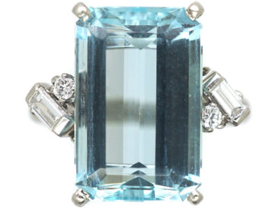 Platinum, Rectangular Aquamarine & Diamond Ring