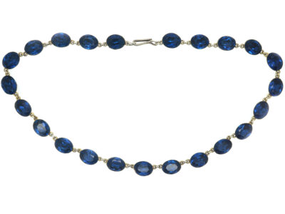 Victorian Silver & Blue Paste Riviere Necklace