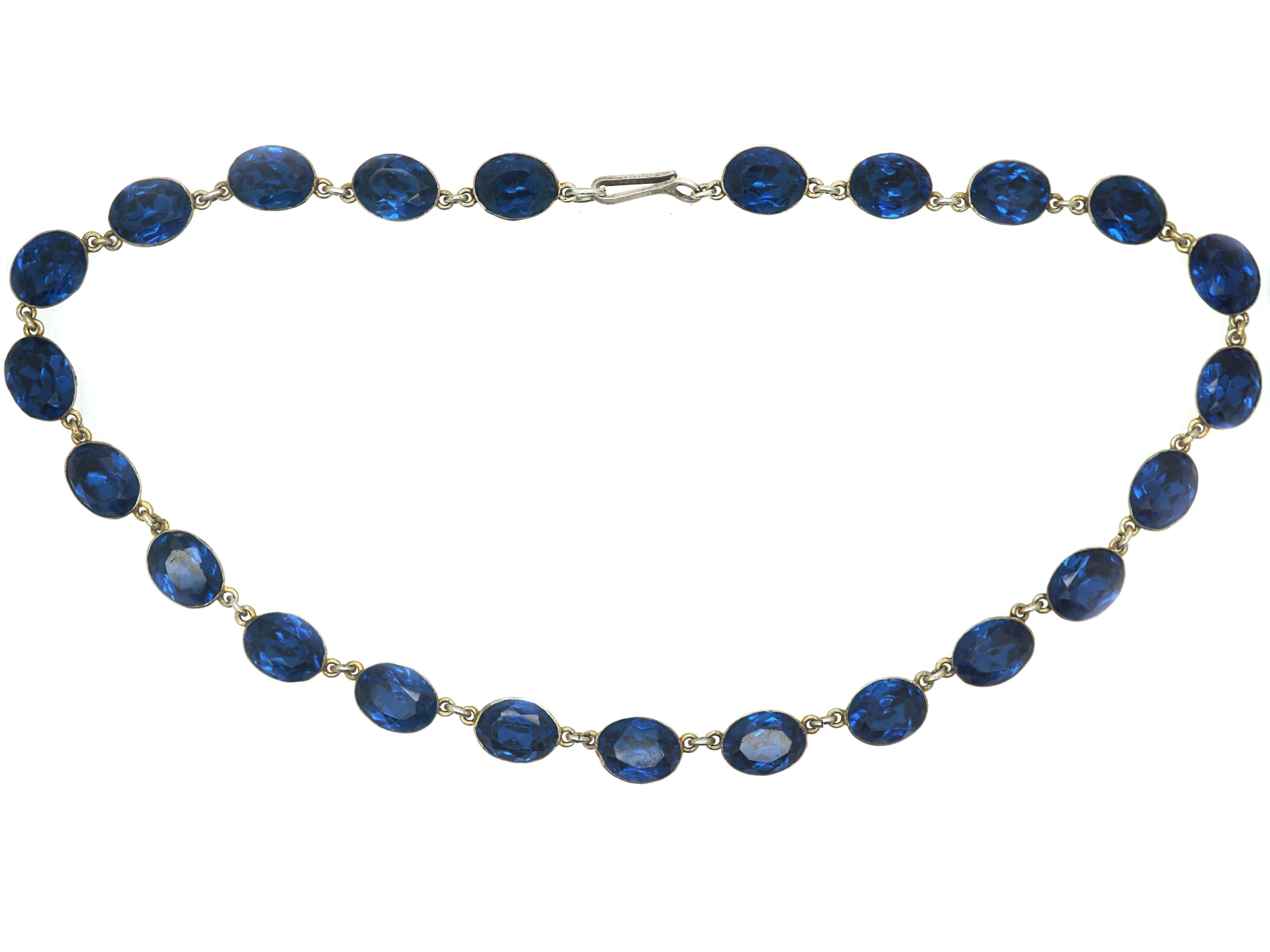 Victorian Silver & Blue Paste Riviere Necklace