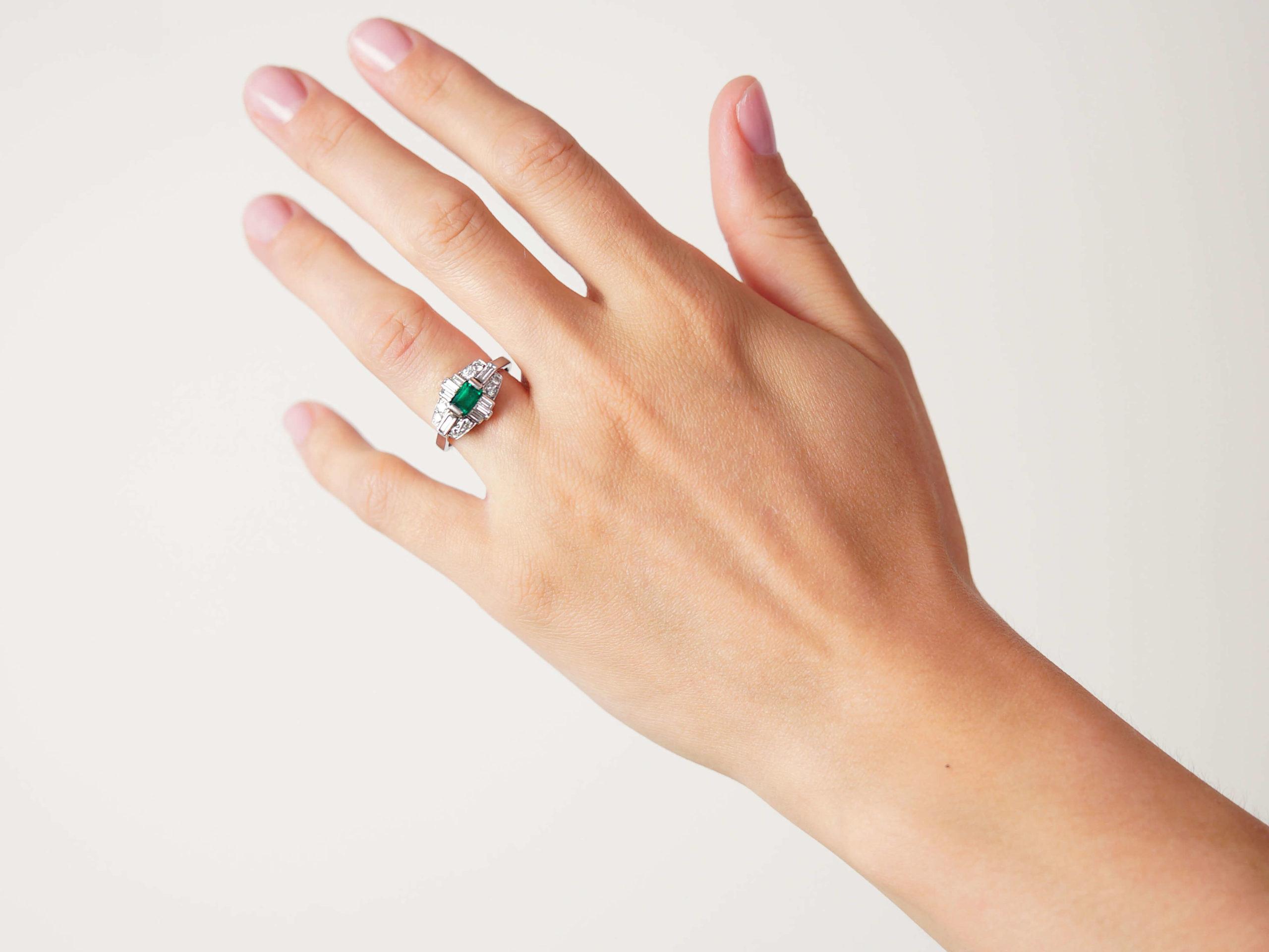Art Deco Style 18ct White Gold, Emerald & Diamond Ring