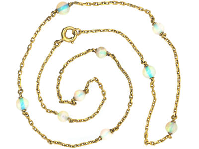 French Belle Epoque 18ct Gold & Opal Chain