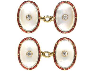 Art Deco 18ct Gold , Red Enamel, Mother of Pearl & Diamond Oval Shaped Cufflinks