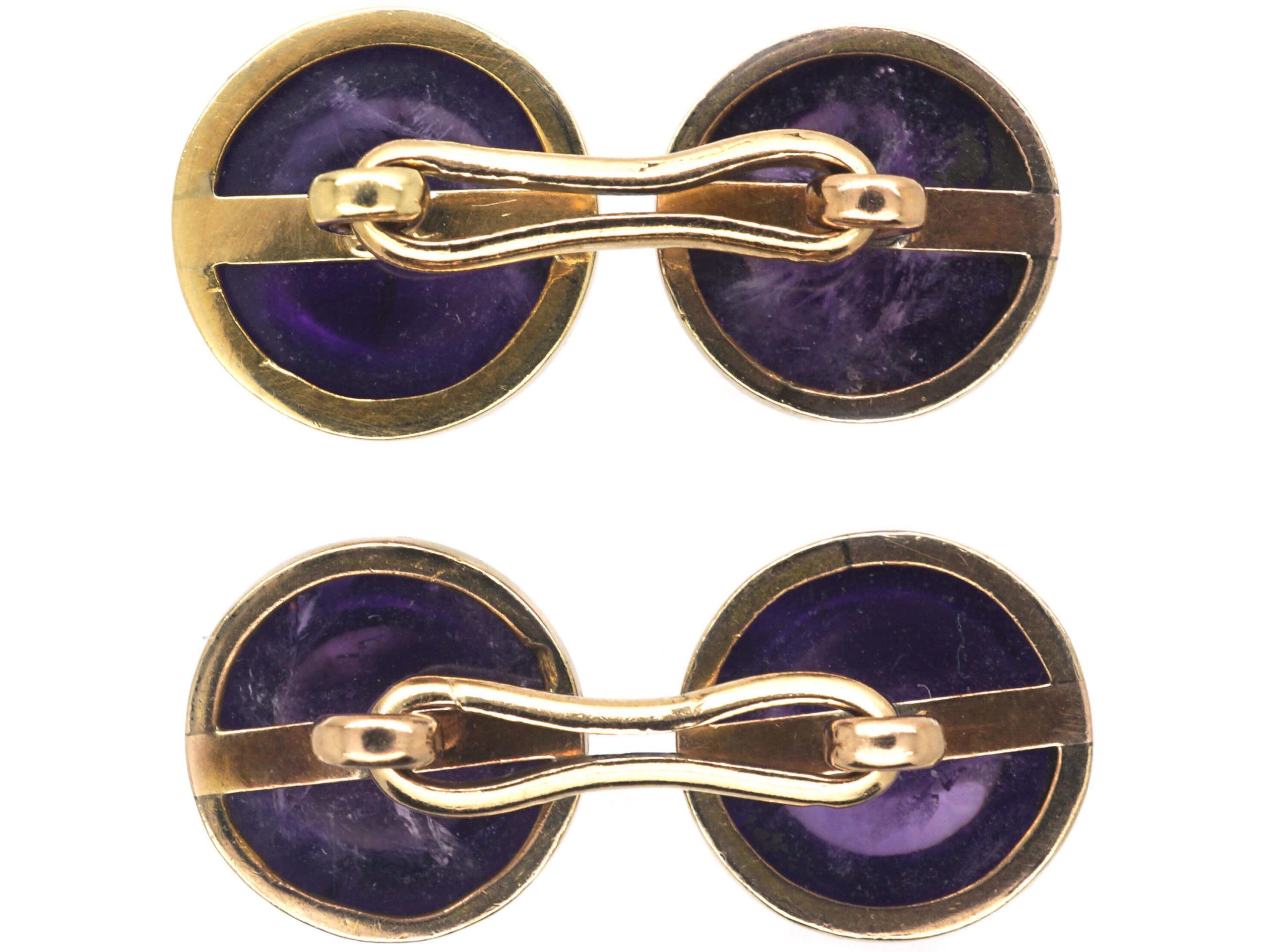 Art Deco 15ct Gold & Cabochon Amethyst Cufflinks