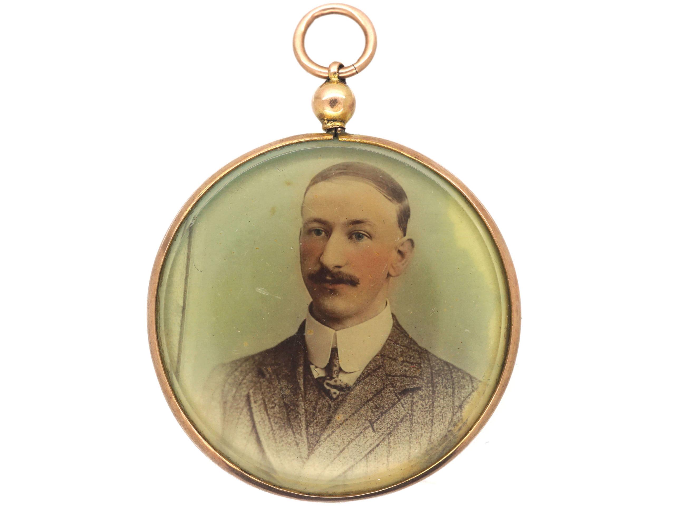 Edwardian 9ct Gold Round Picture Locket