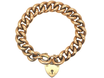 Edwardian 9ct Gold Curb Bracelet