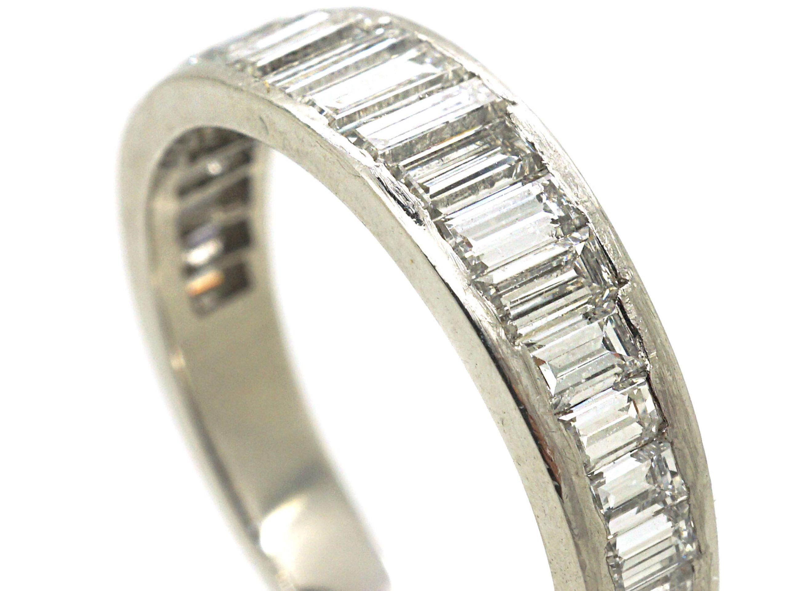 French Art Deco Platinum Baguette Diamond Half Eternity Ring