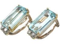 18ct White Gold Aquamarine & Diamond Rectangular Shaped Clip On Earrings