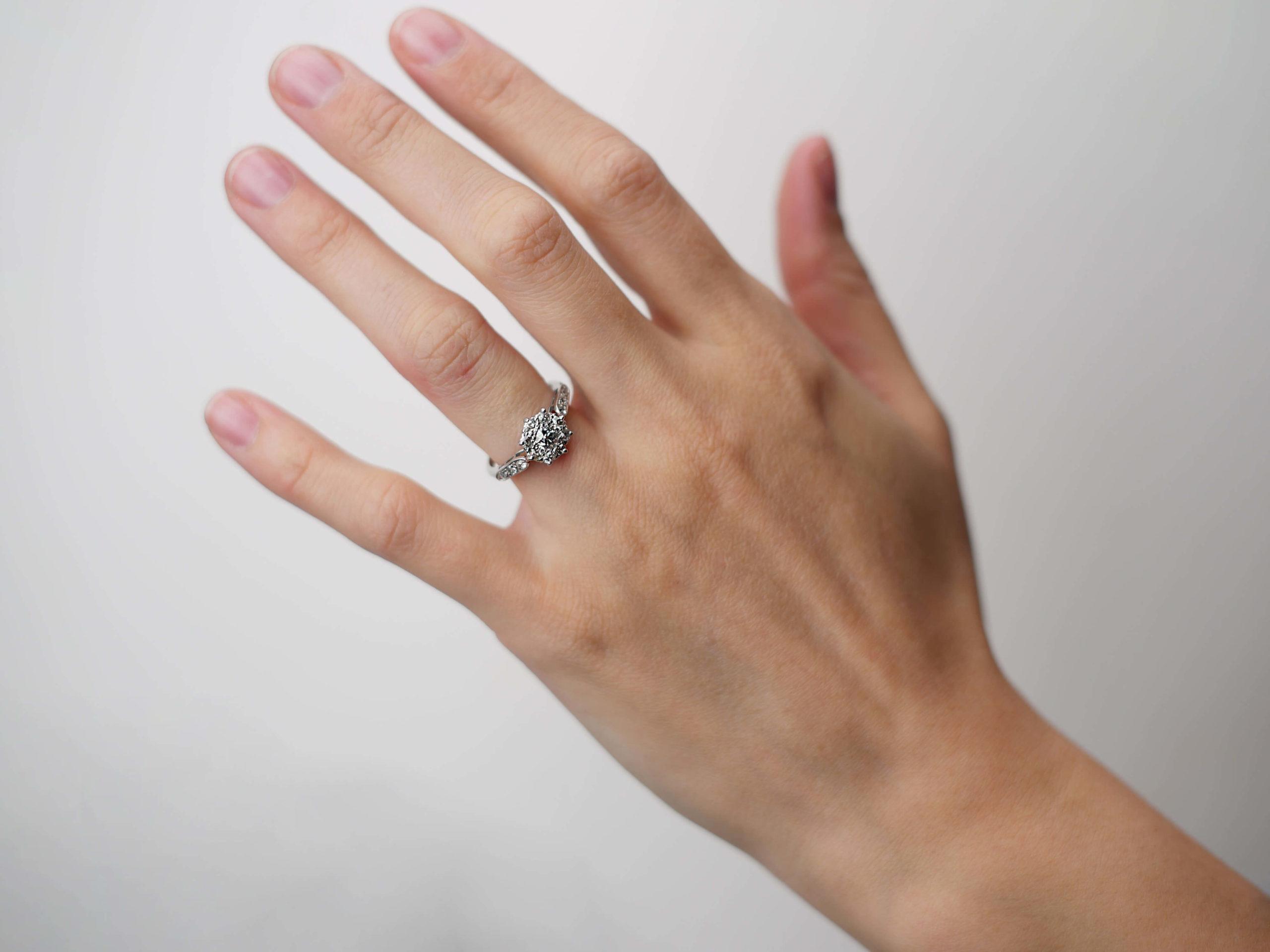 Edwardian 18ct White Gold & Platinum, Diamond Cluster Ring with Diamond set Shoulders