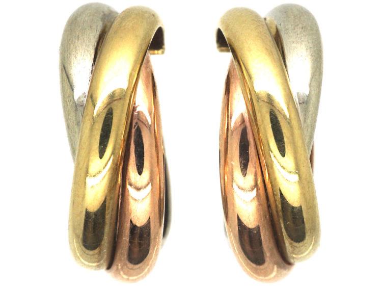 9ct Three Colour Gold Trinity Earrings