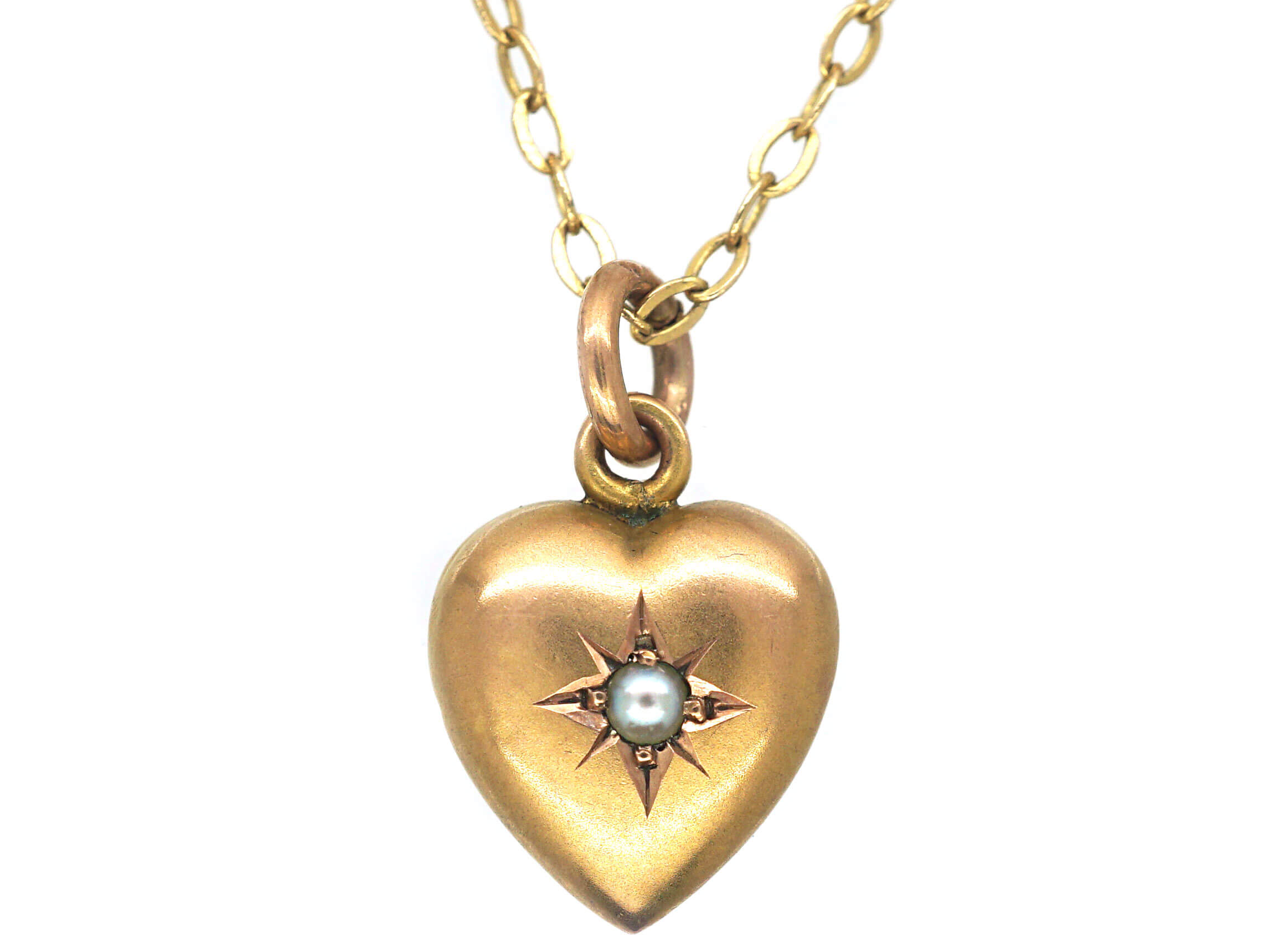 Edwardian 9ct Gold Heart Shaped Pendant set with a Natural Split Pearl on a 9ct Gold Chain