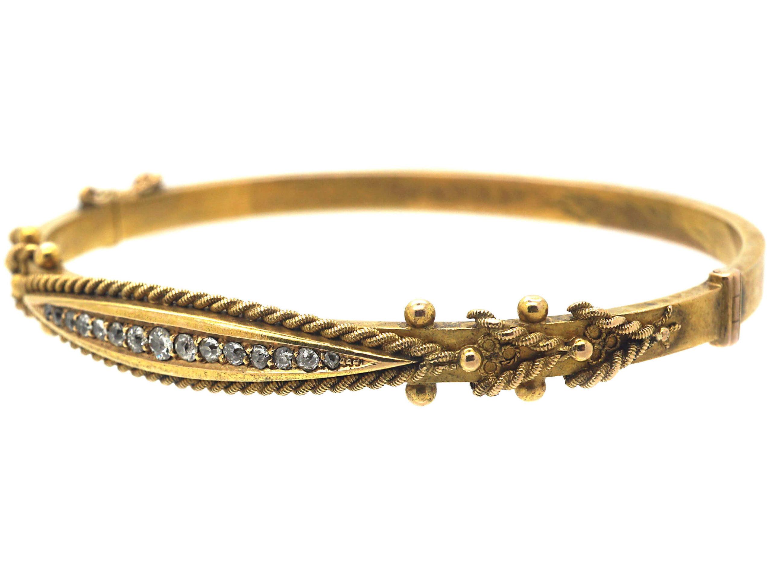 Victorian 15ct Gold & Diamond Bangle
