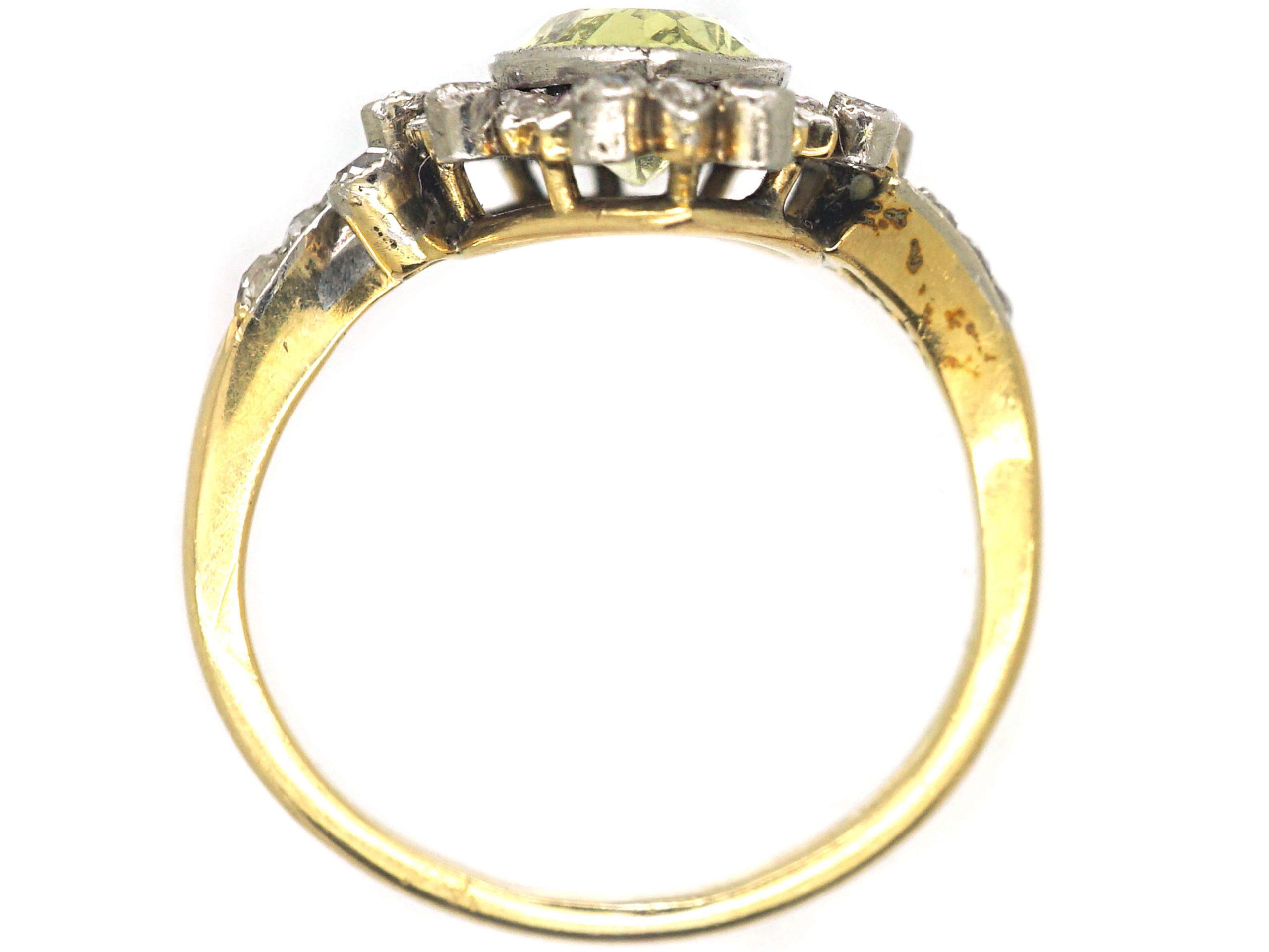 Edwardian 18ct Gold & Platinum, Chrysolite, Diamond & Ruby Ring