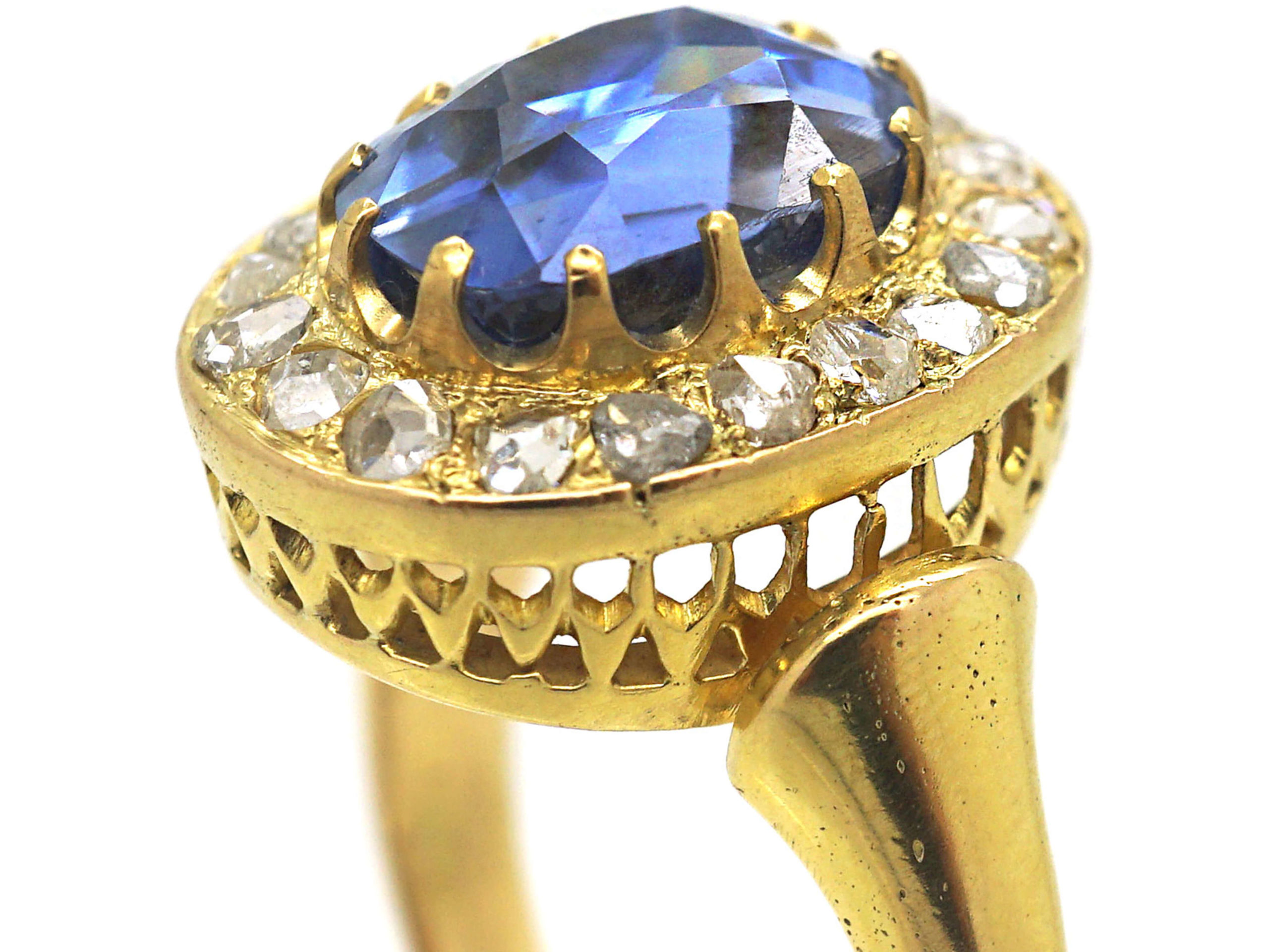 Victorian 18ct Gold, Ceylon Sapphire & Rose Diamond Cluster Ring