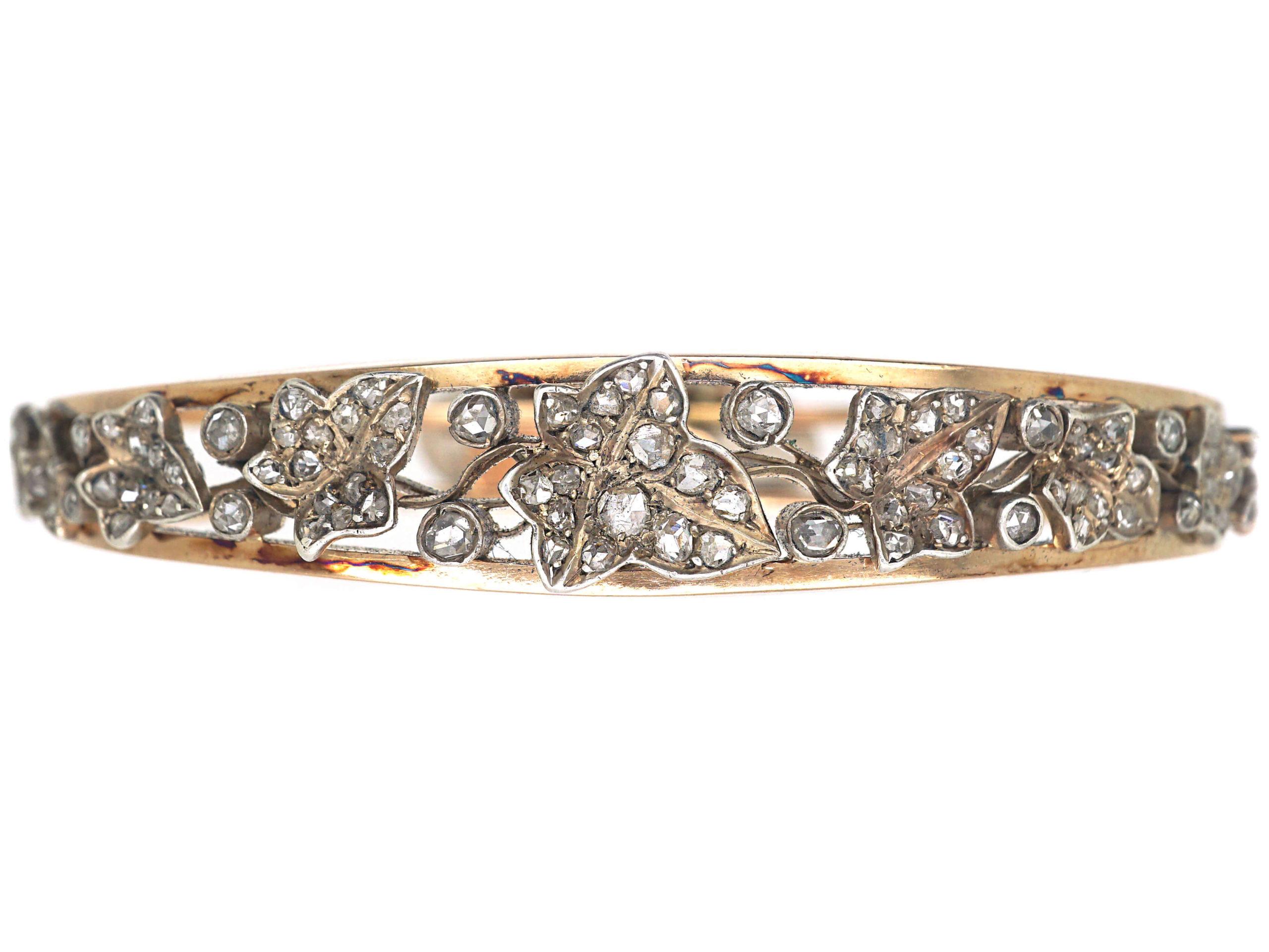 Victorian 18ct Gold & Rose Diamond Ivy Leaf Bangle