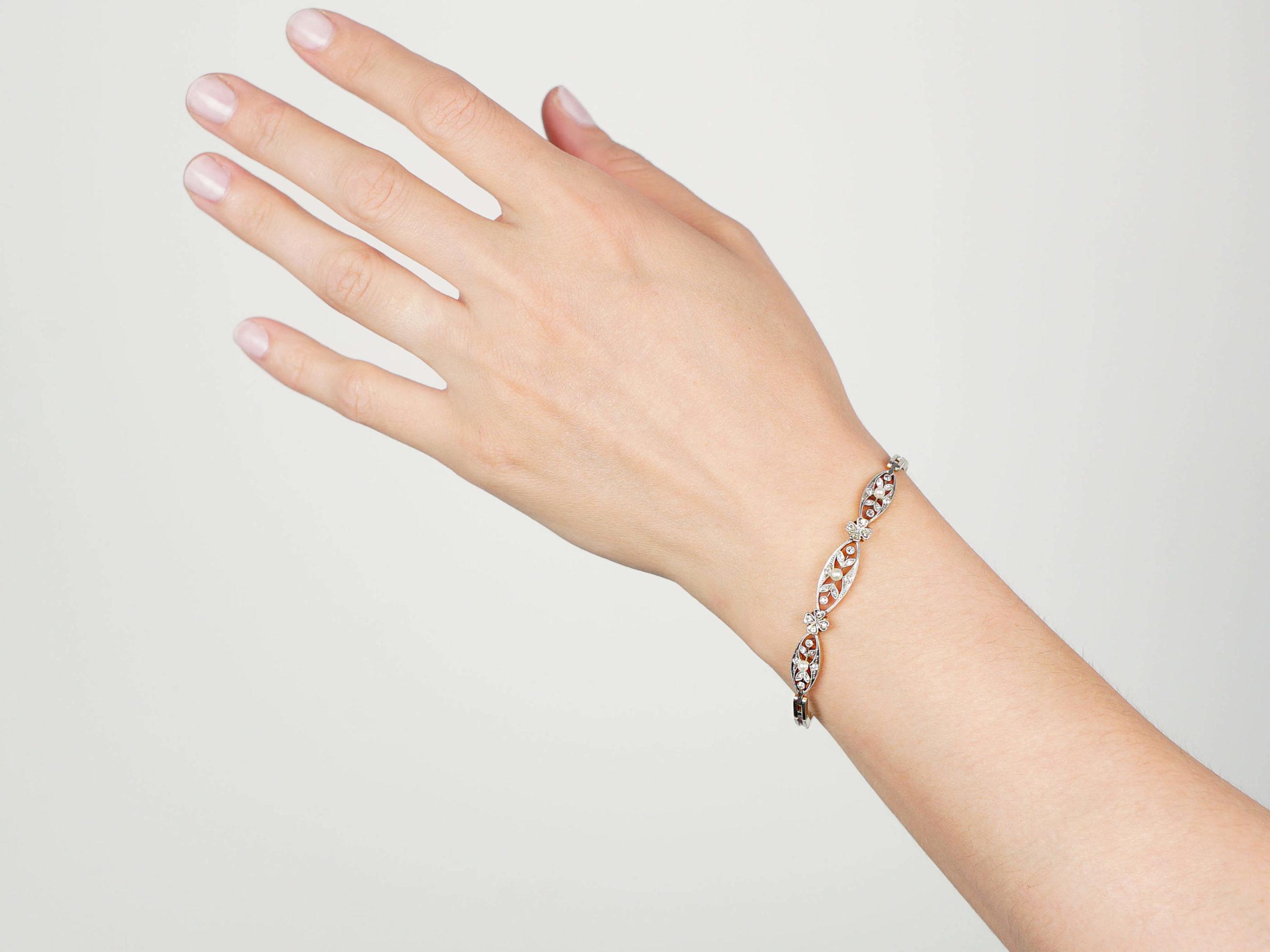 Edwardian 18ct Gold, Platinum, Rose Diamonds & Natural Pearls Bracelet