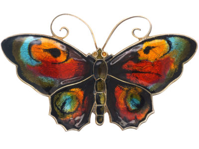 Silver & Enamel Butterfly Brooch by David Andersen