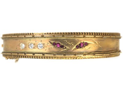 Victorian 15ct Gold, Ruby & Diamond Lily of the Valley Bangle