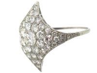 Art Deco Platinum Curved Diamond-Shaped Cluster Ring