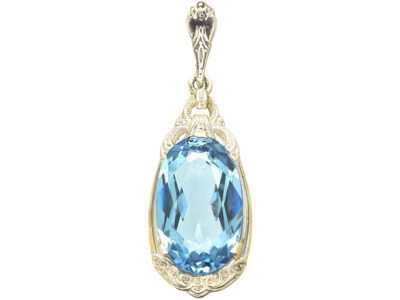 Art Deco Silver Synthetic Blue Spinel Pendant