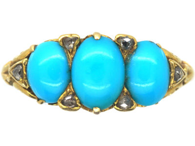 Victorian 18ct Gold Three Stone Turquoise & Rose diamond Ring