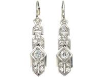 Art Deco Geometric Platinum & Diamond Drop Earrings