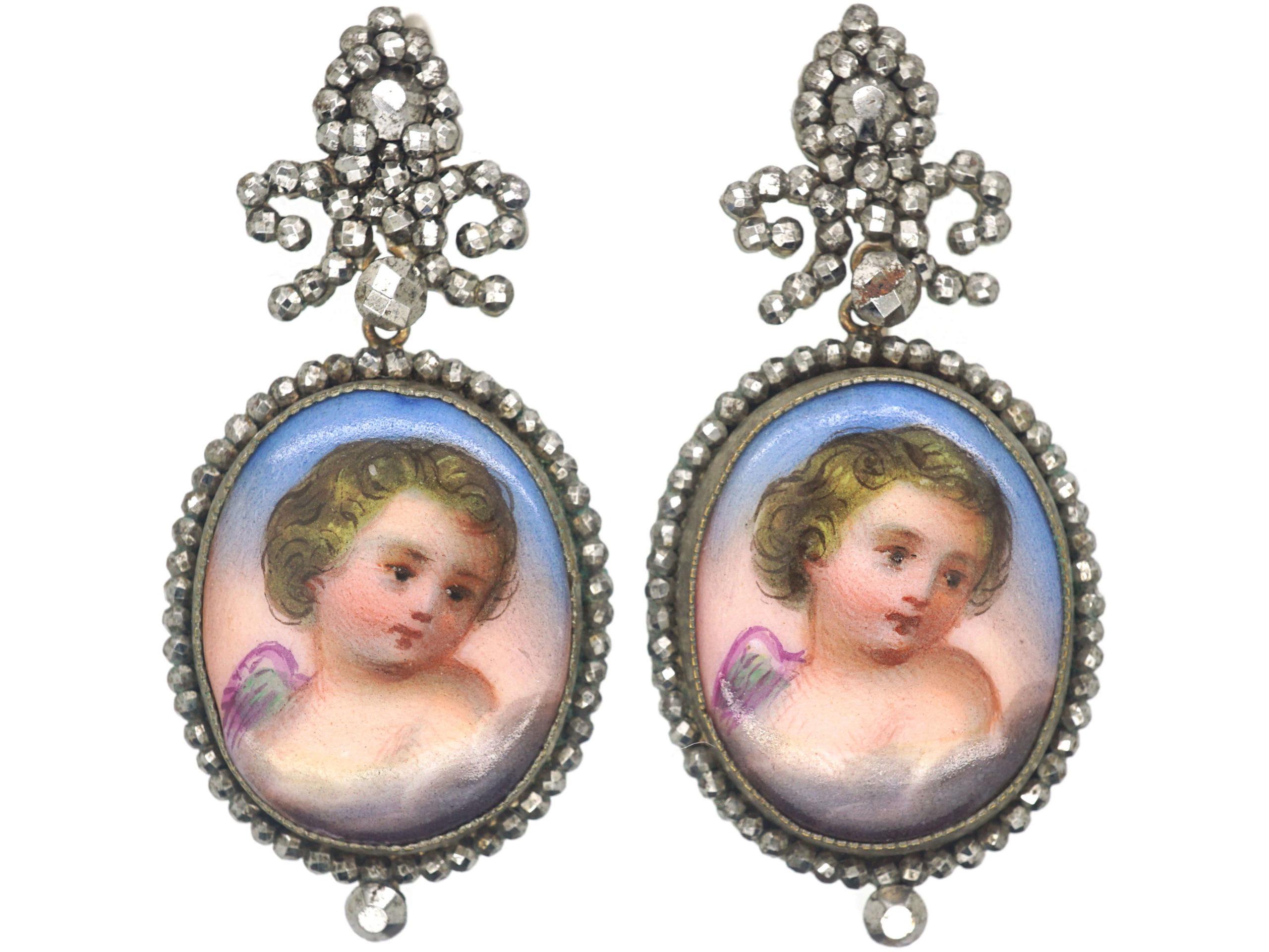 Georgian Cut Steel & Porcelain Angel Earrings