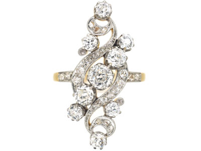 Art Nouveau 18ct Gold & Platinum Diamond Twist Ring