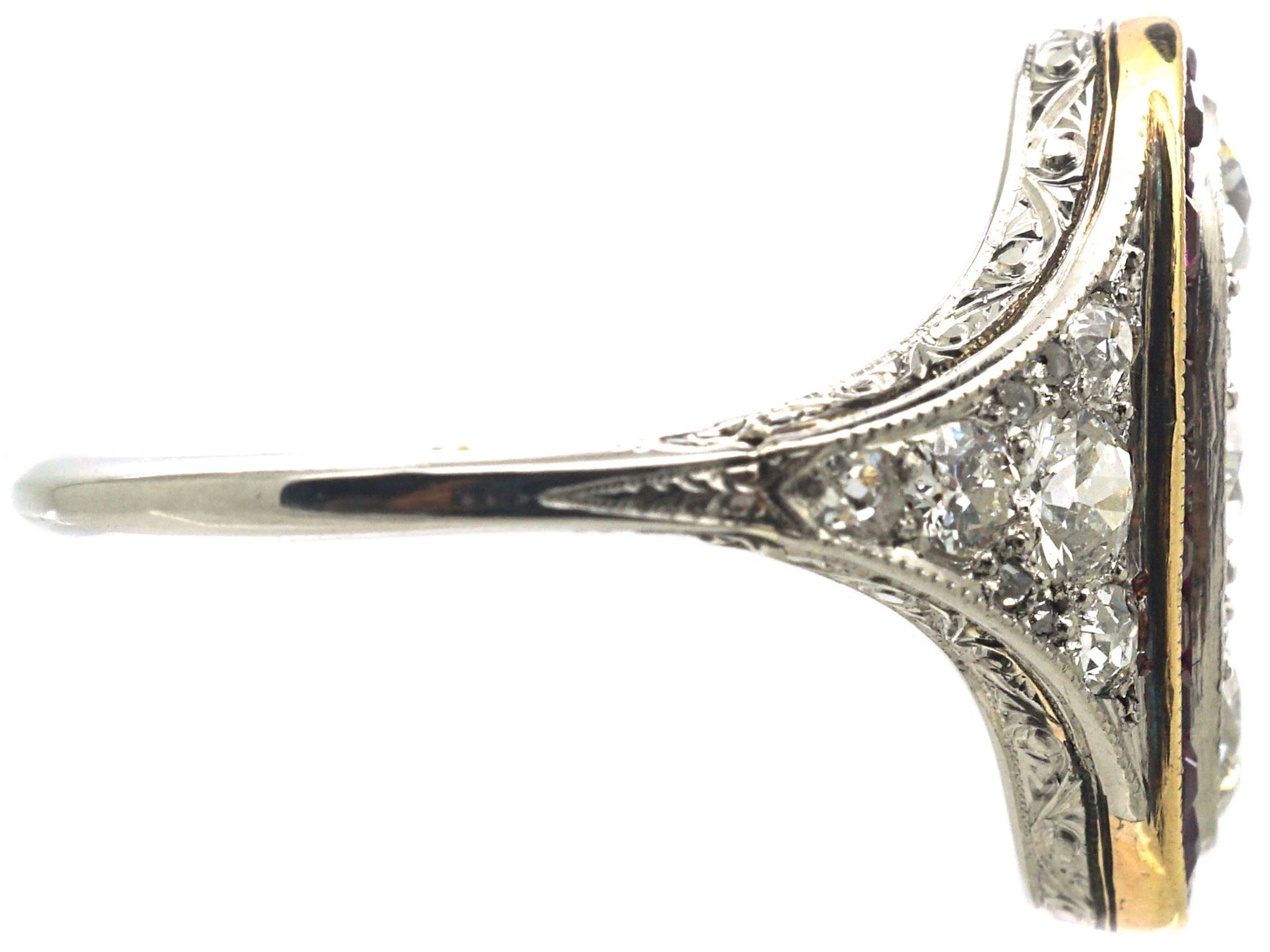 Art Deco Platinum, Ruby & Diamond Oval Shaped Ring