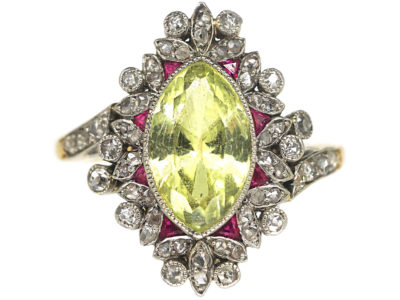 Edwardian 18ct Gold & Platinum, Chrysolite, Diamond & Ruby Ring