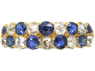 Victorian 18ct Gold, Sapphire & Diamond Chequerboard Ring