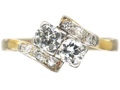 Art Deco 18ct White Gold Two Stone Crossover Ring